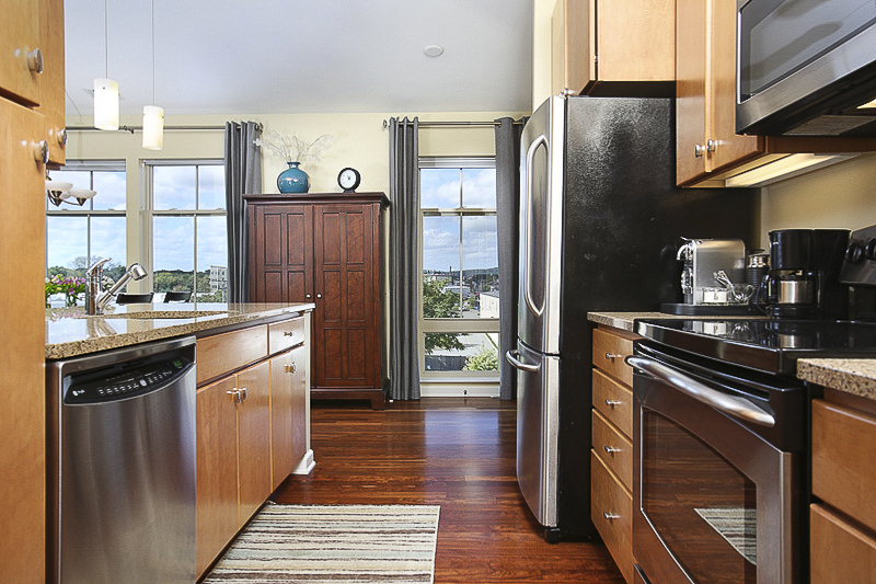 Gourmet Stainless and Granite Kitchen, Unit 4410, Repton Place Condominiums, Watertown, MA